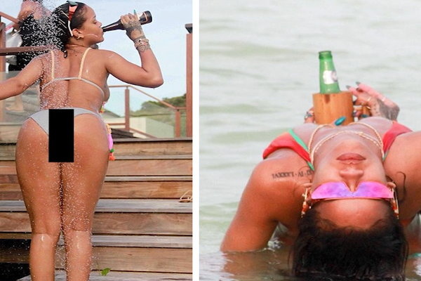 TMZ on TV: Rihanna -- Beer, Blunts & Showers On the Beach!!